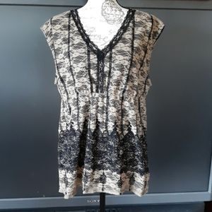Cato tan and black lace lined sleeveless blouse